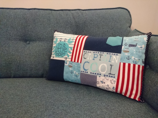 Nautical theme keepsake cushion